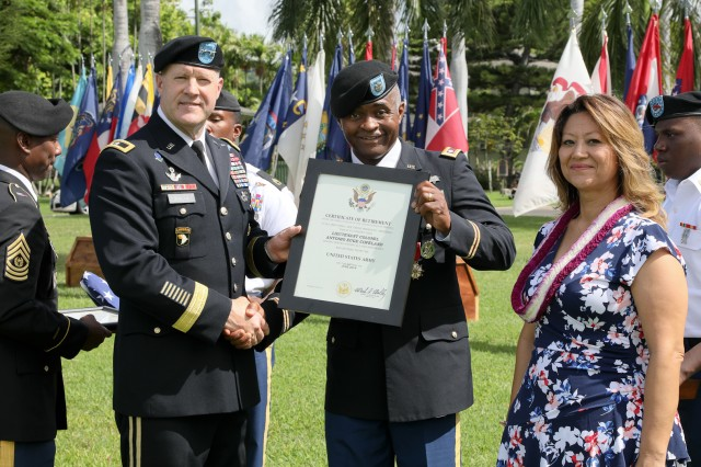 Lt. Col. Antonio Copeland receives his certificate of retirement from Maj. Gen. Pete Johnson, U.S. Army Pacific deputy commanding general-south, during a celebration of service ceremony, Oct. 3, 2018, at historic Palm Circle on Fort Shafter, Hawaii. USARPAC's Celebration of Service ceremony recognizes Soldiers for exceptional service to U.S. Army Pacific and the nation as they get ready to transition into new careers.