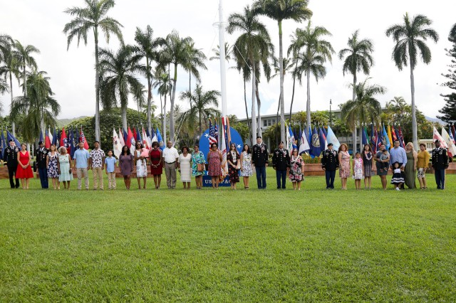 U.S. Army Pacific Soldiers, family and friends gathered together for a Celebration of Service ceremony, Oct, 3, 2018 at historic Palm Circle on Fort Shafter, Hawaii. Four Soldiers with a combined service of over 116 years were honored during the ceremony as they prepare to transition to new careers.