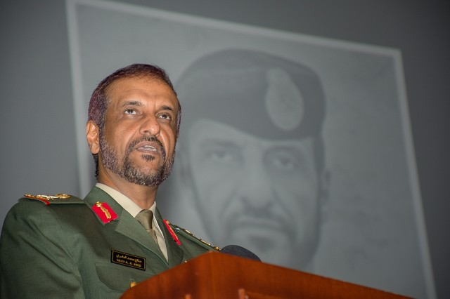 Maj. Gen. Saleh al Ameri, commander of United Arab Emirates Land Forces speaks to the students, faculty and staff of the Command and General Staff College during his induction to the college's International Hall of Fame Oct. 4