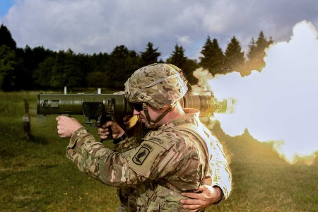 Soldiers from 1st Battalion, 503rd Infantry Regiment, engaged targets with the Carl Gustaf 84mm weapon system in Grafenwoehr, Germany, Sept. 8, 2018 during Saber Junction 18. Exercise Saber Junction 18 is a U.S. Army Europe-directed exercise designed to assess the readiness of the U.S. Army's 173rd Airborne Brigade to execute unified land operations in a joint, combined environment and to promote interoperability with participating allies and partner nations.