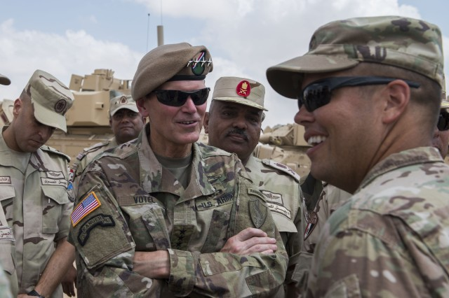 Army Gen. Joseph Votel, U.S. Central Command commander, and Egyptian senior leaders visit the Bright Star 2018 logistics staging area, Sept. 9, 2018. Votel was on a 19-day trip to visit countries in the Centcom area of responsibility.