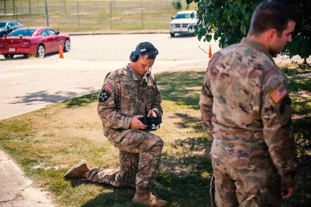 Soldiers at Fort Benning, Ga., train one another on using the Tactical Combat Casualty Care Exportable (TC3X) system, a medical trauma training mannequin, Oct. 4, 2018.