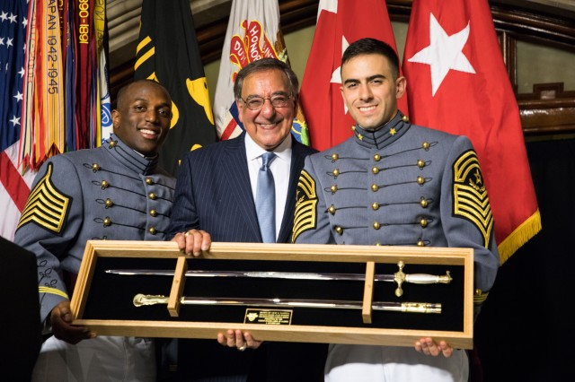 The 23rd U.S. Secretary of Defense Leon Panetta receives the 2018 Sylvanus Thayer Award presented by the West Point Association of Graduates, Oct. 4, 2018 at the U.S. Military Academy at West Point.