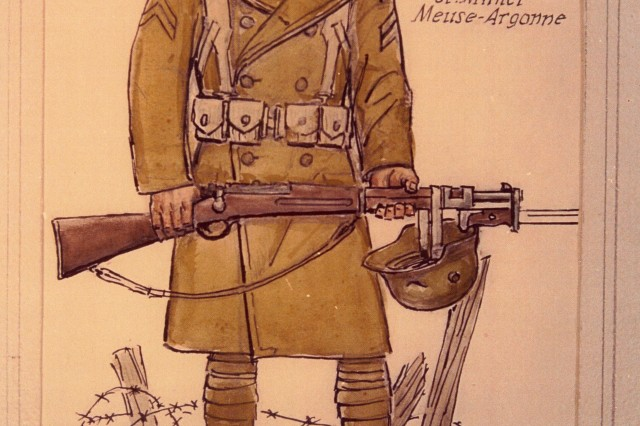 "A graphic illustration of a typical National Guard Soldier of the 165th Infantry, formerly the 69th Regiment, New York National Guard. The 165th Infantry fought as part of the 42nd ""Rainbow"" Division during St. Mihiel in September and Meuse-Argonne in October, part of the American Expeditionary Force 100 days offensive that brought an end to World War I."