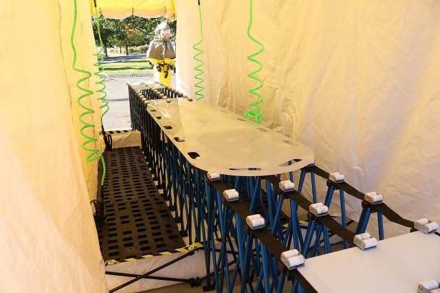 The interior of a wash tent set up by the patient decontamination team at Madigan Army Medical Center on Joint Base Lewis-McChord, Wash. during a training on Sept. 27.
