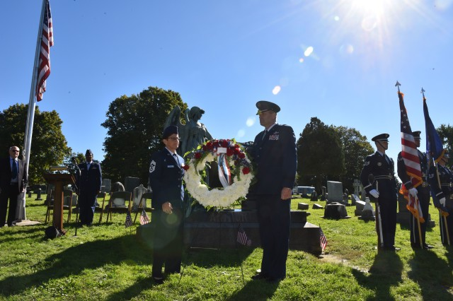 New York Air National Guard Brig. Gen. Timothy J. LaBarge, the NewYork National Guard Director of Joint Staff, and Command Chief Master Sgt. Maureen Dooley, the senior ranking noncommissioned officer for the New York Air National Guard, present a wreath from President Donald Trump at the gravesite of President Chester A. Arthur in Albany Rural Cemetery in Menands, N.Y. on October 5, 2018. Representatives of the United States Armed Forces present a wreath from the current president at the gravesite of past presidents on their birthdays. Arthur, the 21st President of the United States, was born on Oct. 5, 1829.