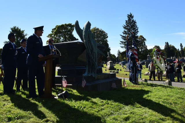 New York Air National Guard Brig. Gen. Timothy J. LaBarge, the NewYork National Guard Director of Joint Staff, speaks during a ceremony honoring President Chester A. Arthur at Albany Rural Cemetery in Menands, N.Y. on October 5, 2018. LaBarge and Command Chief Master Sgt. Maureen Dooley, the senior ranking noncommissioned officer for the New York Air National Guard, presented a wreath from President Donald Trump at the gravesite of President Chester A. Arthur . Representatives of the United States Armed Forces present a wreath from the current president at the gravesite of past presidents on their birthdays. Arthur, the 21st President of the United States, was born on Oct. 5, 1829.