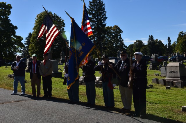 Members of the Sons of Union Veterans form a color guard during a ceremony honoring President Chester A. Arthur held at Albany Rural Cemetery in Menands , N.Y. On October 5, 2018. New York Air National Guard Brig. Gen. Timothy J. LaBarge, the NewYork National Guard Director of Joint Staff, and Command Chief Master Sgt. Maureen Dooley, the senior ranking noncommissioned officer for the New York Air National Guard, presented a wreath from President Donald Trump at the gravesite of President Chester A. Arthur . Representatives of the United States Armed Forces present a wreath from the current president at the gravesite of past presidents on their birthdays. Arthur, the 21st President of the United States, was born on Oct. 5, 1829.
