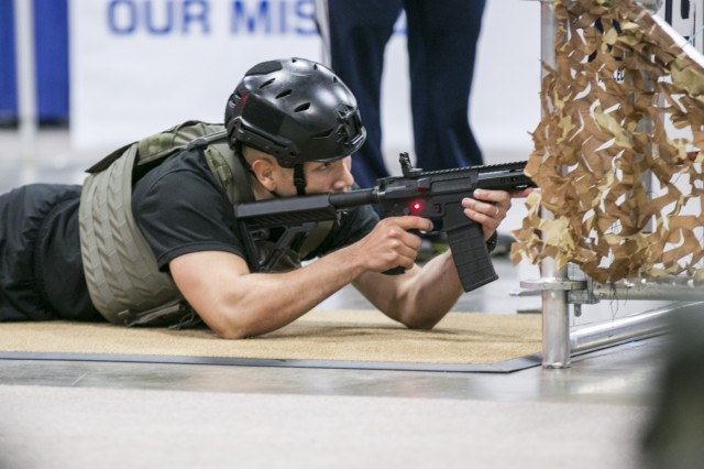 Soldiers participate in a Battle Challenge event at the 2018 Association of the U.S. Army Annual Meeting and Exposition in Washington D.C., Oct. 8, 2018.