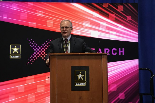 Dr. Bruce Jette, Assistant Secretary of the Army for Acquisition, Logistics & Technology, provides opening remarks to the 2018 AUSA Innovator's Corner on the first day of the AUSA Annual Meeting Oct. 8, 2018 in the Walter E. Washington Convention Center in Washington, DC.