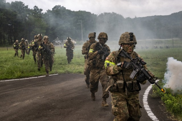 Soldiers of the Indiana National Guard's 76th Infantry Brigade Combat Team charge into the fight during a training assault for Orient Shield 2018. Orient Shield is an annual, bilateral, tactical field training exercise cohosted by the Japan Ground Self-Defense Force and U.S. Army Pacific Command. This marks the 33rd iteration of this exercise designed to enhance U.S. and Japan's combat readiness and interoperability at the tactical level while strengthening bilateral relationships and demonstrating U.S. resolve to support the security interests of friends and allies in the region.