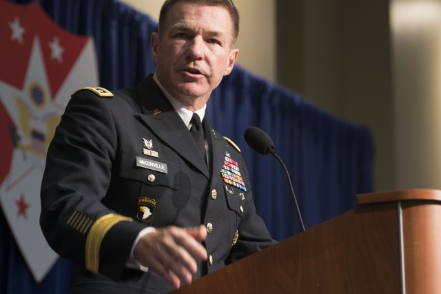 Gen. James McConville, vice chief of staff of the Army, speaks during the Best Warrior luncheon Oct. 8, 2018, in Washington, D.C.