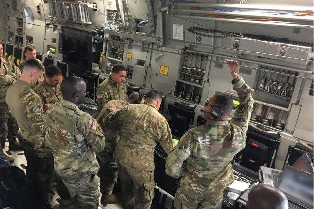The 50th Expeditionary Signal Battalion-Enhanced, 35th Theater Tactical Signal Brigade uses Enroute Mission Command (EMC) to provide other units with critical in-flight mission command, plane-to-plane and plane-to-ground communications, and situational awareness so commanders can stay ahead of changing battle space conditions en route to their mission.