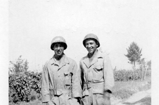 Dale Jones (left) and a fellow Soldier on Anzio Beach, Italy during World War II in 1944. Jones served with the 1st Armored Division in both the North African and Italian campaigns during the war.