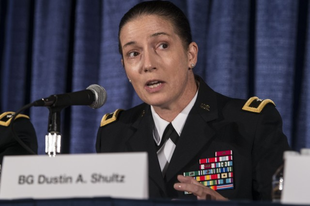 Brig. Gen. Dustin Shultz, 1st Mission Support Command, Army Reserve, talks about her unit's challenge in response to the damages of Hurricane Maria in Puerto Rico last year. She spoke at the at the 2018 Association of the U.S. Army's annual meeting, Oct. 9, 2018 in Washington, D.C.