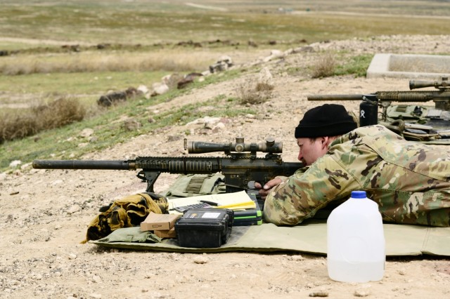 Oregon Army National Guard Soldiers with Detachment 1, Headquarters and Headquarters Company, 3rd Battalion, 116th Cavalry Regiment, conduct sniper gunnery, April 14, 2018, at the Orchard Combat Training Center near Boise, Idaho.