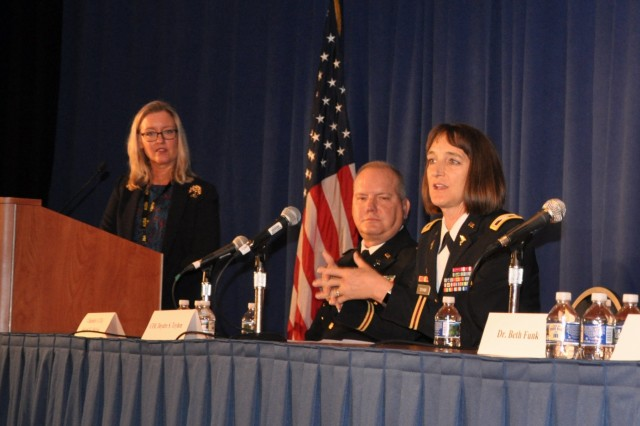 Col. Deydre S. Teyhen, commander, Walter Reed Army Institute of Research, discusses the impact of military family's health as a key factor for overall readiness of the total Army Force during the Annual Association of the United States Army meeting in Washington, D.C., Oct. 8, 2018. (U.S. Army photo by Courtney Dock)
