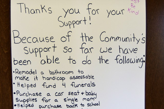 This sign hangs on a door at the church sales as a reminder of what people are contributing to when they buy the signs and other Just Be Kind items.