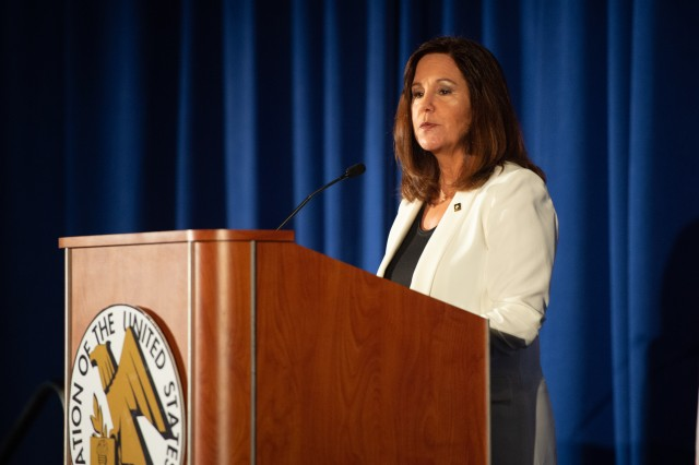 Second Lady of the United States Karen Pence speaks to an audience at the Military Family Forum about Military Spouse Employment and Financial Readiness Initiatives at the 2018 Association of the U.S. Army's Annual Meeting and Exposition, Oct. 9, 2018, in Washington, D.C.