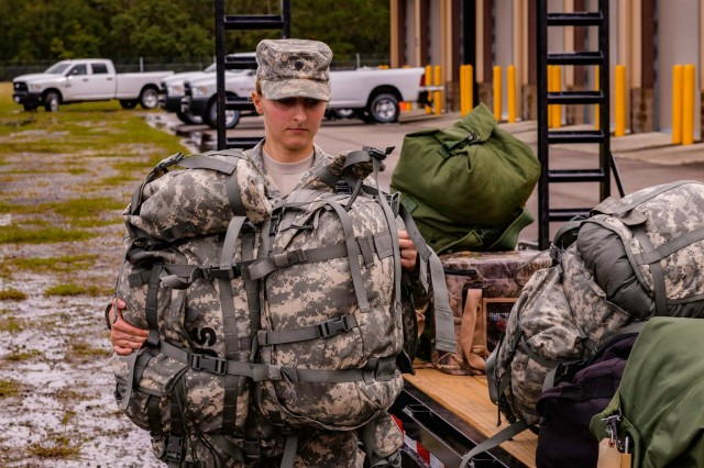 Members of Florida National Guard Chemical, Biological, Radiological and Nuclear Defense Enhanced Response Force Package prepare to help citizens in affected areas prior to landfall of Hurricane Michael at Camp Blanding Joint Training Center near Starke, Fla., Oct. 9, 2018.