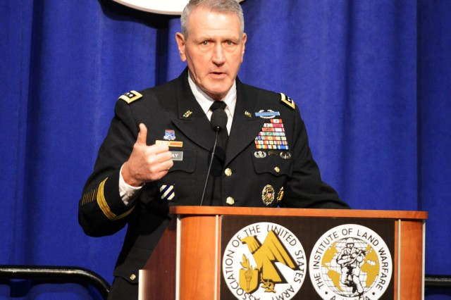 Gen. John M. Murray, commander of U.S. Army Futures Command, speaks at the Association of the U.S. Army's National Partner Luncheon, Oct. 10, 2018, in Washington, D.C.