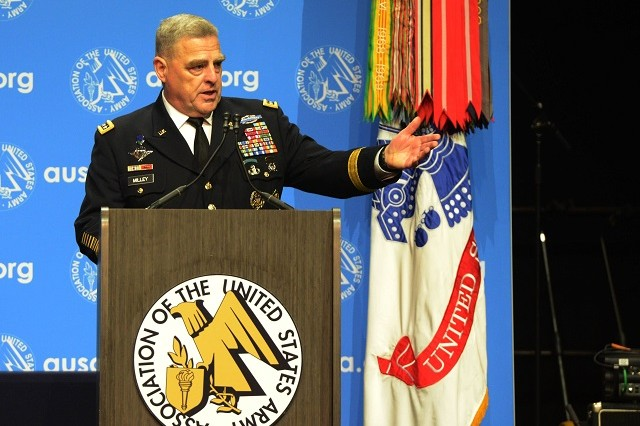 Chief of Staff of the Army Gen. Mark A. Milley gives the keynote speech at the Association of the U.S. Army's Annual Meeting and Exposition's Eisenhower Luncheon, Oct. 9, 2018, in Washington, D.C.