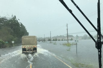 Virginia National Guard providing high water transport capabilities, helicopter rescue on standby