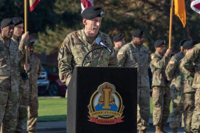 """I Corps Commanding General, Lt. Gen. Gary J. Volesky, speaks during a welcome ceremony for the new Deputy Commanding General of I Corps, Maj. Gen. William H. Graham, Oct. 12, 2018 on Joint Base Lewis-McChord.  """"Sustaining the force is a major effort for the corps,"""" said Volesky. """"A task that requires a major general of [Graham's] caliber, to ensure we have what we need in order to deploy, fight and win."""" (U.S. Army photo by Spc. Ethan Valetski, 5th Mobile Public Affairs Detachment.)"""