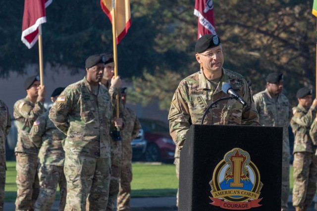 "The new Deputy Commanding General of I Corps, Maj. Gen. William H. Graham, speaks during his welcome ceremony Oct. 12, 2018 on Joint Base Lewis-McChord. ""It's taken me 30 years to get to this storied corps and much desired base,"" said Graham. ""But it was absolutely worth the wait."" (U.S. Army photo by Spc. Ethan Valetski, 5th Mobile Public Affairs Detachment.)"