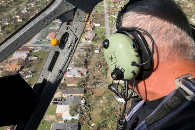 Bay County Sheriff's Office Chief Pilot Larry Kennedy overlooks the damage caused by Hurricane Michael while conducting air surveillance with the Florida National Guard. Kennedy was accompanied by guardsmen to assess the damage and to find the places that need the most support.
