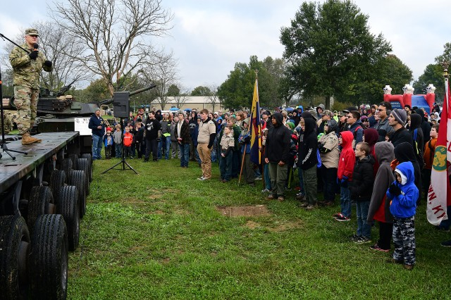 Maj. Gen. John Evans Jr., commanding general of U.S. Army Cadet Command and senior commander of Fort Knox, speaks to a crowd gathered at the start of activities Oct. 13, 2018.