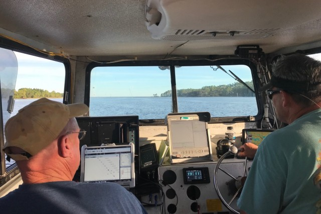 Irvington Site Office survey crew members survey the Gulf Intracoastal Waterway in the aftermath of Hurricane Michael. (USACE photo courtesy of Operations Division)