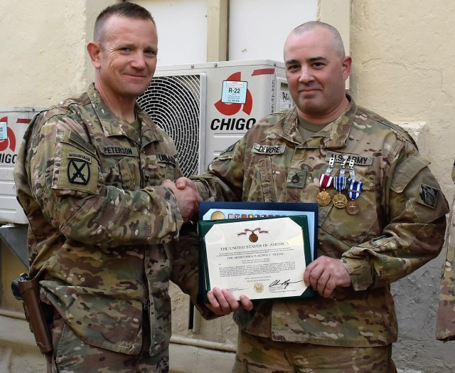 DeVore honored for service in Afghanistan