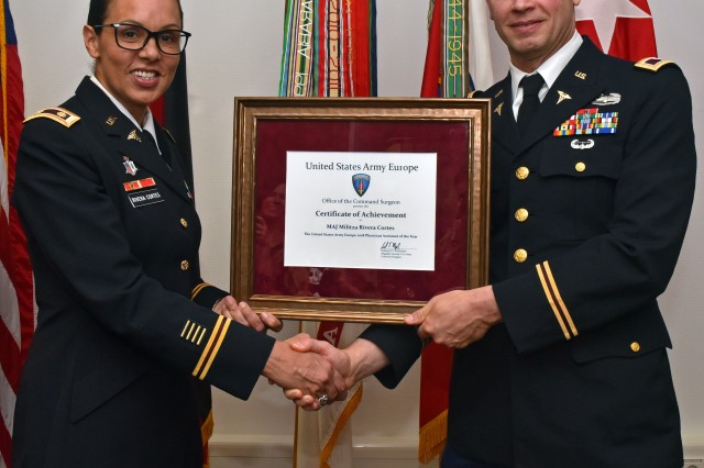 The U.S. Army Europe Physician of the Year 2018 was awarded to Maj. Malitza Rivera Cortes as the most qualified Physician Assistant within U.S. Army Europe. Rivera Cortes is a PA in Landstuhl Regional Medical Center's Orthopedics Clinic.