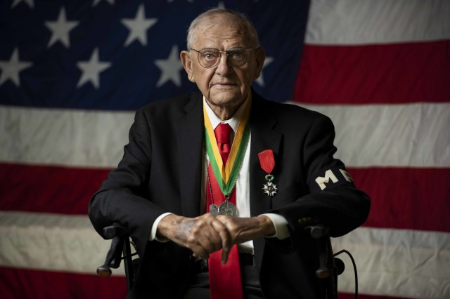 Walter Pruiksma poses for a portrait after receiving The Military Police Regimental Association's Order of the Marechaussee in Silver, during an award ceremony Oct. 13, 2018, Mannasquan, N. J.