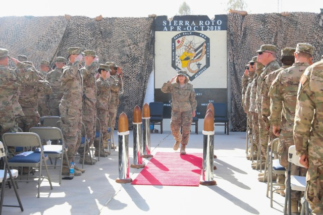 KANDAHAR, AIRFIELD, Afghanistan -U.S. Navy Capt. Cynthia Gantt, outgoing commander for of NATO Role III Multinational Medical Unit, salutes the sideboys, Oct. 14, 2018, during a transfer of authority ceremony in Kandahar Airfield, Afghanistan. Gantt transferred authority of Role III to U.S. Navy Capt. David Jones during the ceremony. (U.S. Army photo by Staff Sgt. Neysa Canfield)