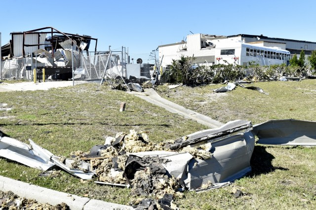 Hurricane Michael ripped through Tyndall Air Force Base, Florida, and the surrounding area leaving severe damage through its path.  The storm sustained winds up to 150 mph, which significantly damaged every structure throughout the base. (U.S. Air Force photo by Tech. Sgt. Liliana Moreno)