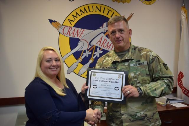 Crane Army Employee Receives Lean Six Sigma Black Belt Certificate
