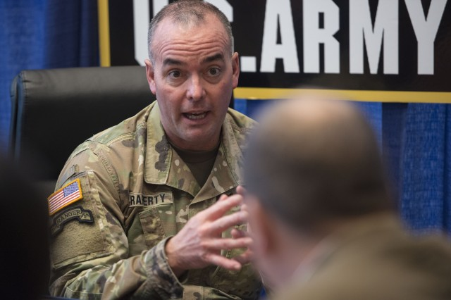 Col. John Rafferty, director of the Long -Range Precision Fires Cross-Functional Team, answers questions from reporters at the 2018 Association of the Army's Annual Meeting and Exposition, Oct. 9, 2018.