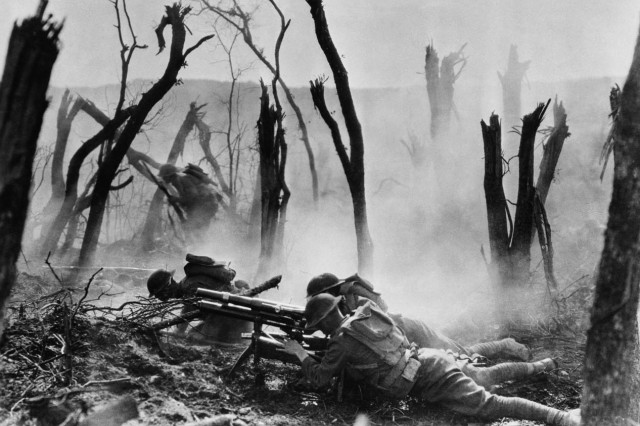 U.S. Soldiers from the 23rd Infantry attack German positions during the Meuse-Argonne Offensive of 1918.