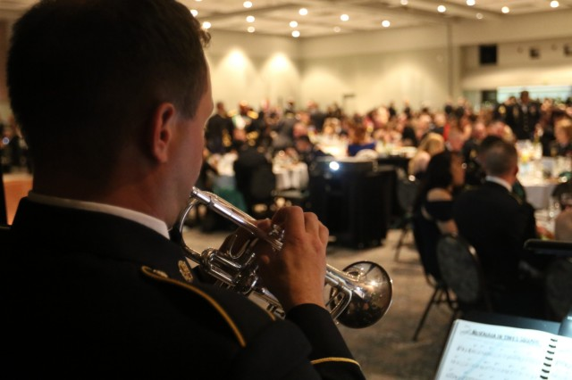 A musician from 56th Army Band (America's First Corps Band) performs at the Military Police Regimental Ball in Tacoma, Washington. The ball was hosted by 6th Military Police Group (CID)