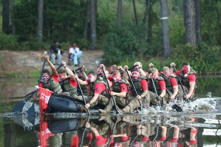 Paratroopers assigned to 37th Brigade Engineer Battalion, 82nd Airborne Division, row a zodiac boat during Blood on the Water competition at Fort Bragg, N.C., Sept. 7, 2018. Events ranged from a water craft landing, breaching and clearing of wire obstacles, and movement under simulated machine/artillery fire. This week marked 100 years since the inception of the 37th Brigade Engineer Battalion.