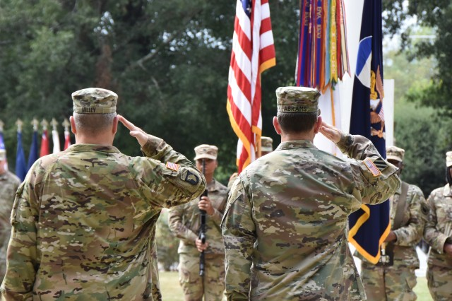 "Army Chief of Staff Gen. Mark A. Milley, left, and Gen. Robert B. ""Abe"" Abrams, commanding general, U.S. Army Forces Command, salute the colors during a relinquishment of command ceremony at Fort Bragg's Main Post Flag Pole, Oct. 16, 2018. Abrams leaves FORSCOM to serve as the commanding general of U.S. Forces Korea. Lt. Laura J. Richardson, deputy commanding general, FORSCOM, will serve as the acting commander until the incoming commander is named and completes the confirmation process. (U.S. Army photo by Eve Meinhardt/FORSCOM PAO)"