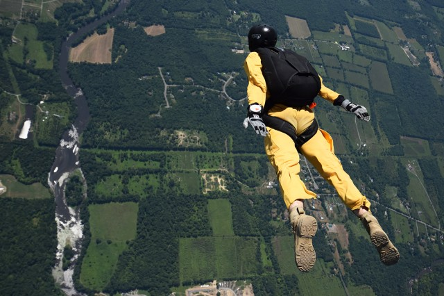 Members of the West Point Parachute team from the sky as they show their aerial skills from 13,000 feet in the air to the ground. Photos courtesy of the West Point Parachute team