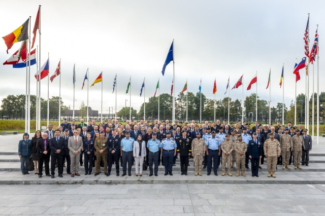 Senior leaders from 23 nations and three international organizations gathered at the NATO headquarters in Brussels, Belgium, Sept. 12-13 to collaborate on the Nimble Titan 18 integrated air and missile defense campaign of experimentation.  (NATO photo)