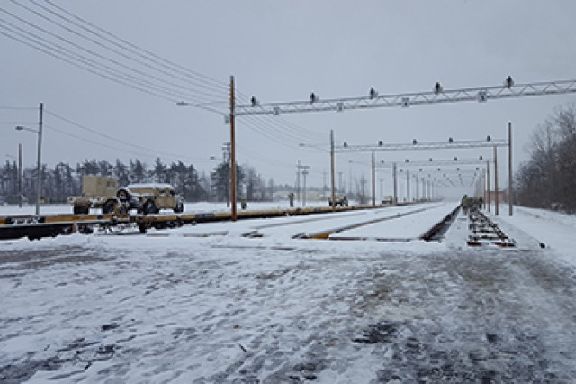 The 2nd Brigade Combat Team, 10th Mountain Division, conducts rail operations in preparation for deployment to a Joint Readiness Training Center rotation in November 2016 at Fort Drum, NY.
