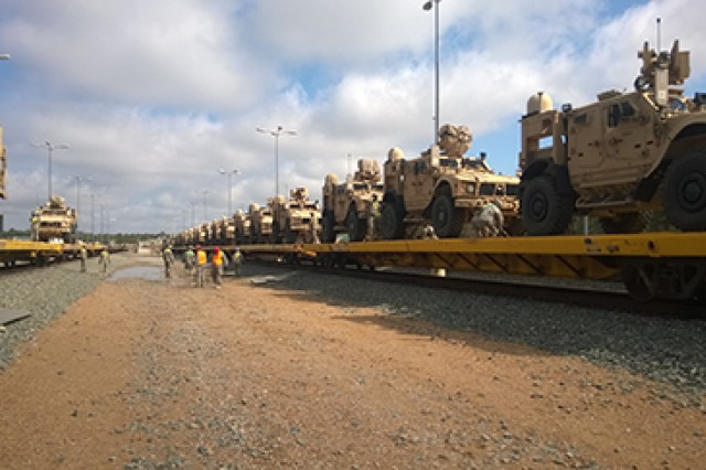 The 2nd Brigade Combat Team, 10th Mountain Division, conducts rail operations in preparation for redeployment from a Joint Readiness Training Center rotation in February 2015 at Fort Polk, La.