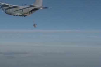 Special Operations Command Soldiers test RA-1 Double Bag Static Line Parachute System, USASOC C-27J