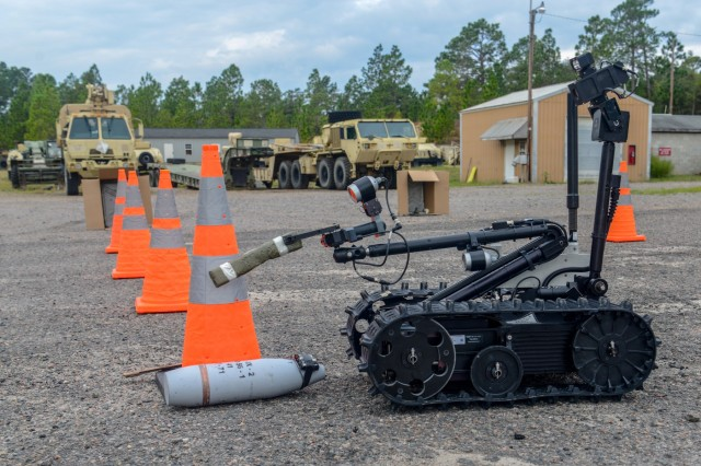 U.S. Soldiers with the 1221st Engineer Clearance Company, South Carolina National Guard, conduct route clearance training using the Talon IV Reset robotic vehicle at their Armory in Graniteville, S.C., Oct. 17, 2018, which is being fielded to the unit as they prepare for an upcoming deployment in 2019. The Soldiers practiced skills-sets to find, target and dispose of improvised explosive devices and ordnance to keep routes clear and safe for civilian and military traffic in a combat environment. (U.S. Army National Guard photo by 2nd Lt. Jorge Intriago)