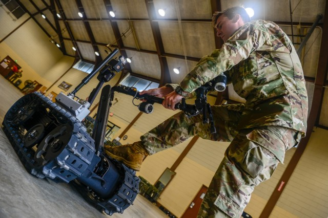 U.S. Army Staff Sgt. Kevin O'Conner, combat engineer with the 122nd Engineer Clearance Company, South Carolina National Guard, conducts route clearance training using the Talon IV Reset robotic vehicle at their Armory in Graniteville, S.C., Oct. 17, 2018, which is being fielded to the unit as they prepare for an upcoming deployment in 2019. The Soldiers practiced skills-sets to find, target and dispose of improvised explosive devices and ordnance to keep routes clear and safe for civilian and military traffic in a combat environment. (U.S. Army National Guard photo by 2nd Lt. Jorge Intriago)
